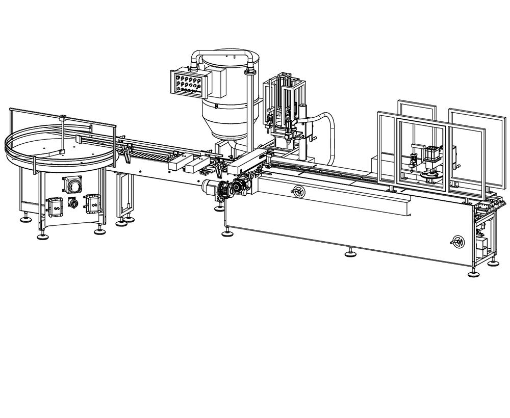 macchina dosatricie automatica volumetrica disegno tecnico